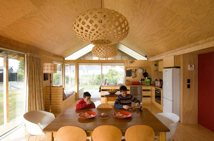 All wood interior with vaulted ceilings - Shoal Bay House by Parsonson Architects ltd.