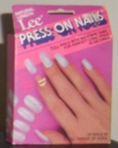 Lee Press On Nails, fell off every time you touched anything, but you had nails darnit