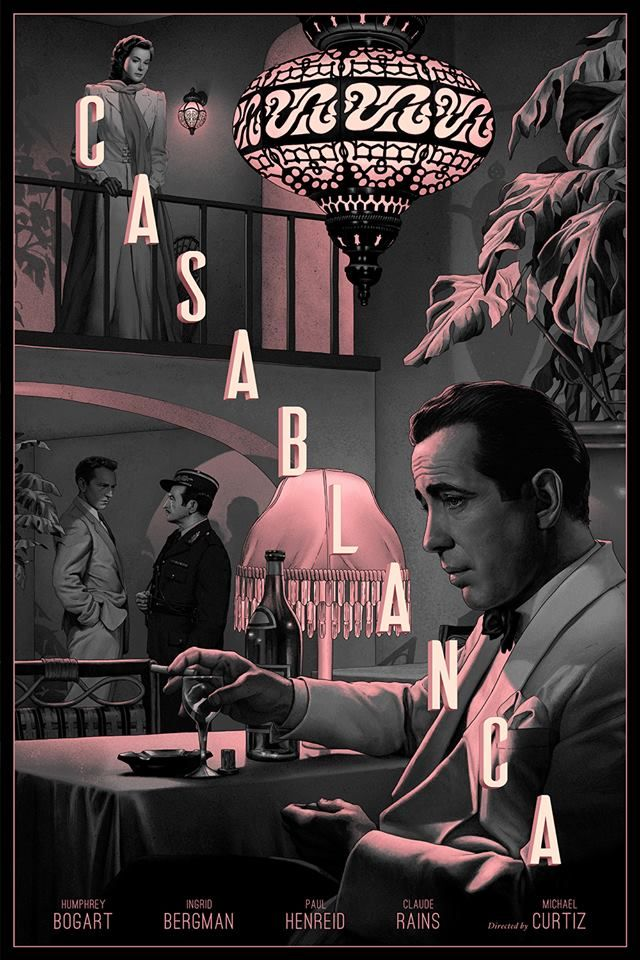 """Casablanca by Rory Kurtz / Facebook / Instagram / Store 24"""" x 36"""" screen prints, regular edition of 75 and variant edition of 60. Private commission, not for sale. Descubra 25 Filmes que Mudaram a História do Cinema no E-Book Gratuito em http://mundodecinema.com/melhores-filmes-cinema/"""