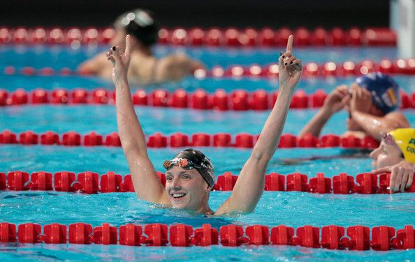 Katinka Hosszu of Hungary celebrates after winning the Swimming Women's 200m Individual Medley Final on day ten of the 15th FINA World Championships at Palau Sant Jordi on July 29, 2013 in Barcelona, Spain.