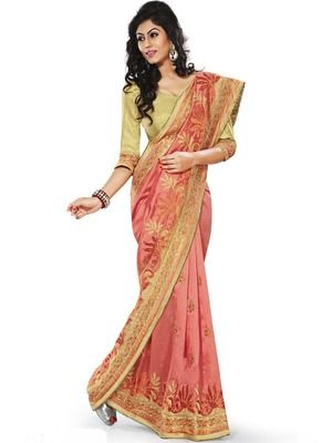Vasu Saree Gajri Brocade Designer Wedding Saree Online With Indian Price Silk Sarees on Shimply.com