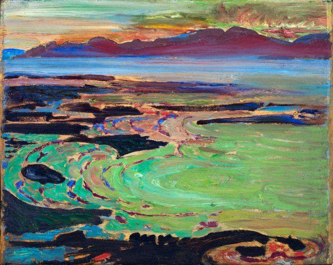 Frederick Horsman VARLEY. West coast sunset, Vancouver [oil on wood], circa 1926.