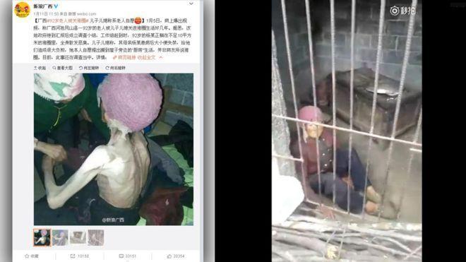 Están siendo las imágenes más compartidas en las redes sociales chinas. En ellas se ve a una mujer de 92 años encerrada dentro de una jaula destinada a cerdos. Su estado, de completa desnutrición y su ropa, que apenas cubre su cuerpo, han incendiado los ánimos de los internautas del gigante asiático.