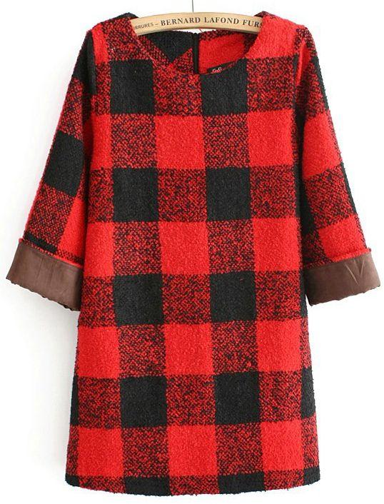 plaid. tartan. dress. Vestido recto cuadros manga media-Rojo EUR€25.53