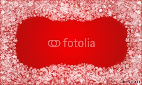Frame from snowflakes and frost patterns on the red background