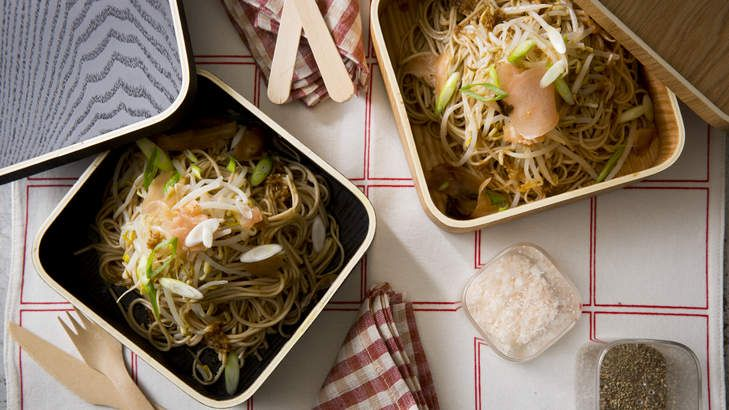 Cold Soba noodles with beansprouts, soy and ginger by Karen Martini. Styling by Caroline Velik.
