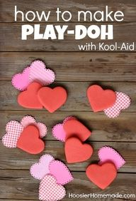 Play-doh  DIYValentine'S Day, Playdoh Recipe, Valentine Day Gift, Kids Stuff, Classroom Gift, Kids Crafts, Koolaid Playdoh, Kool Aid Plays Doh, Playdoh Diy