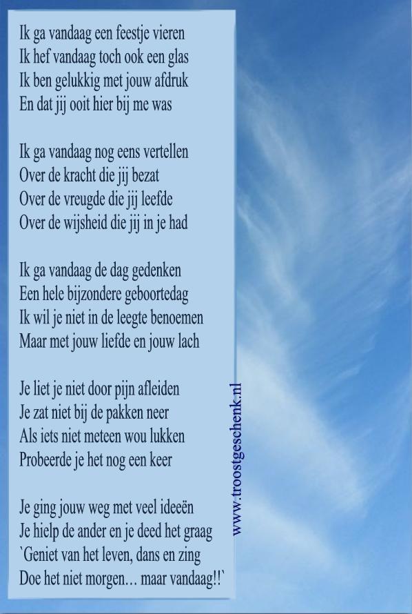 Blog GEDENKDAG!  www.troostgeschenk.nl  Ik ga vandaag een feestje vieren