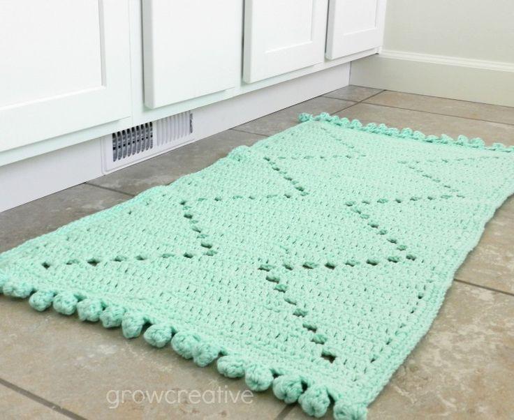 Grow Creative: Free Crochet Pattern: Cotton Aztec Rug | copyright GrowCreativeBlog