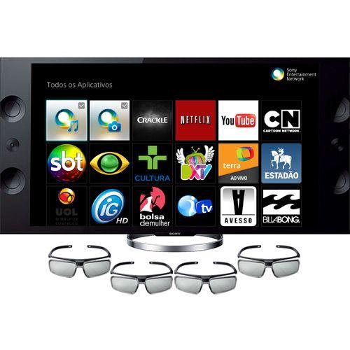 28jul15 Smart TV 3D LED 55 Sony XBR-55X905A Ultra HD 4K - 4 HDMI 3 USB 960hz Wi-Fi + 4 óculos 3D