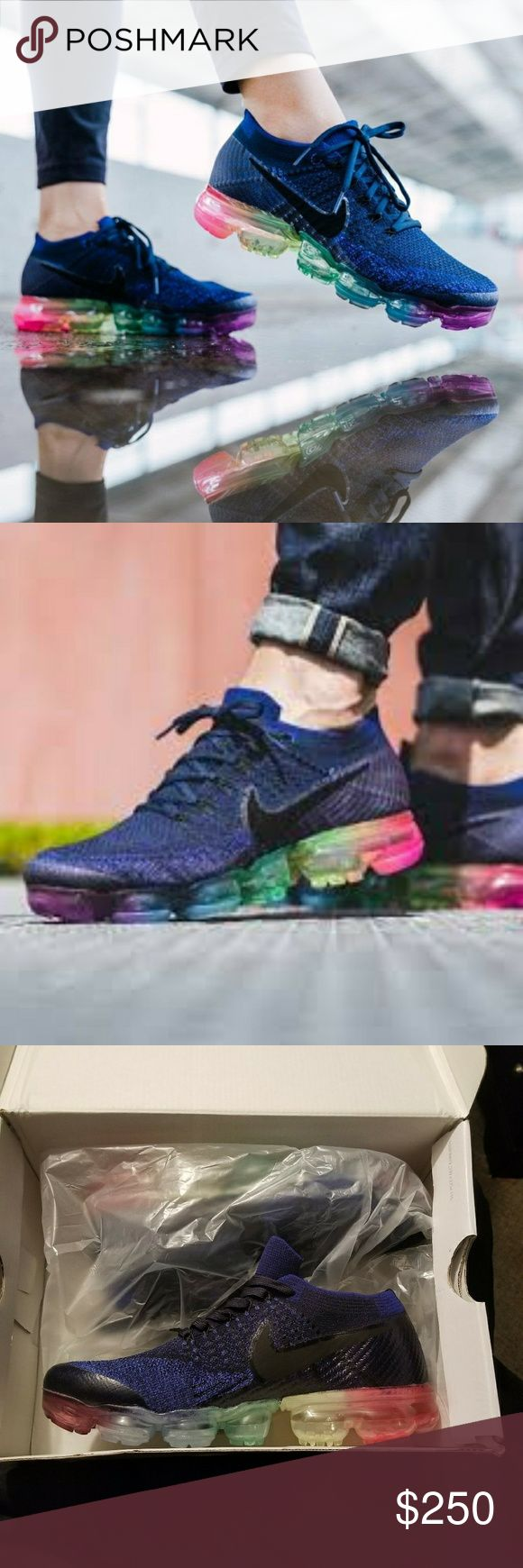 """Nike Vapormax """"Be True"""" Be True Blue Nike Vapormax with a Rainbow colors along the Air Pocket Soles. These are NEW IN BOX. I ORDERED ONLINE AND THEY WERE TO BIG! So they have Never been Worn! They are unisex US Mens Size 7 and US Women's Size 9. Brand New in Box and Never Worn they are in Excellent condition NWT AND NWB!!! Nike Shoes Sneakers"""