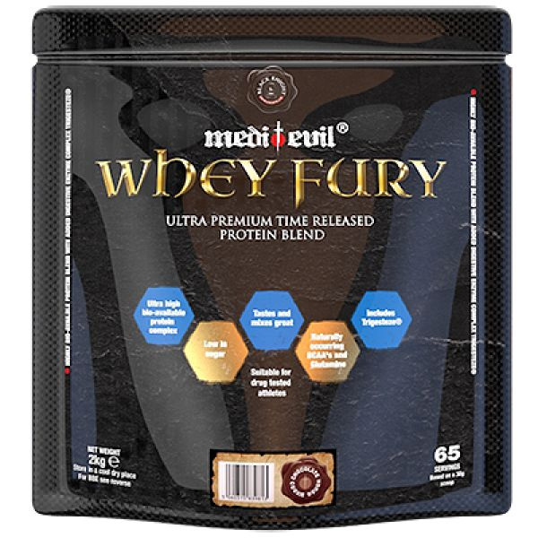 Medi-Evil Whey Fury is an ultra-premium, time-released protein blend. It consists of highly bio-available hydrolysed whey protein, whey protein isolate, whey protein concentrate, soya isolate and milk protein concentrate. Helps in body's growth and muscles repair.