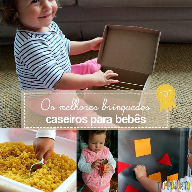 6 ideias de como fazer brinquedos caseiros para bebês de 18 a 24 meses. Tudo feito com o material que você tem em casa, sem gastar dinheiro.