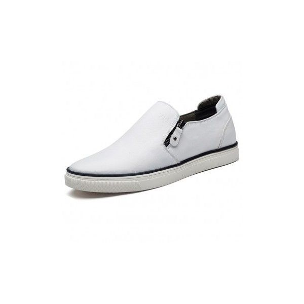 Zip Slip on board loafers white elevator taller shoes 2.4inch / 6cm -.