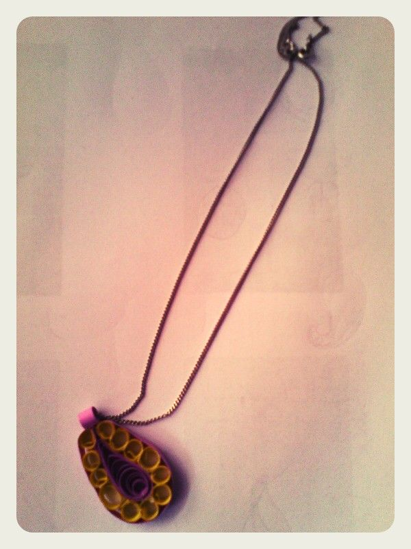 Purple and yellow quilled pendant by quillicious.