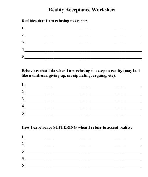 Radical Acceptance Counseling Ideas Therapy Worksheets