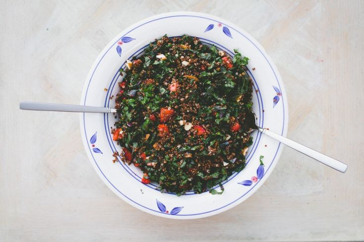 Strawberry and Kale Salad (with red quinoa) from healthy vegetarian food blog threeseedlings.com