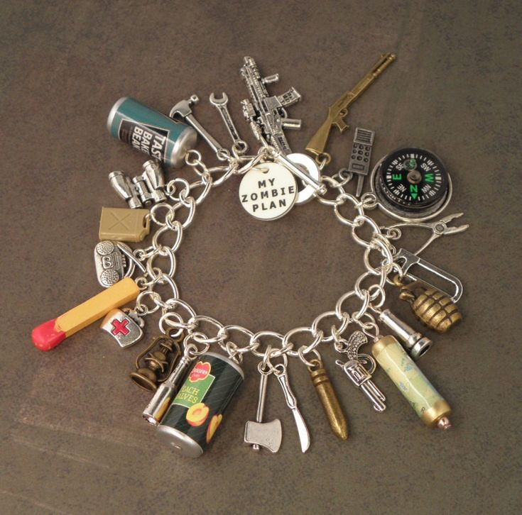 Zombie Apocalypse checklist, in the form of a charm bracelet.