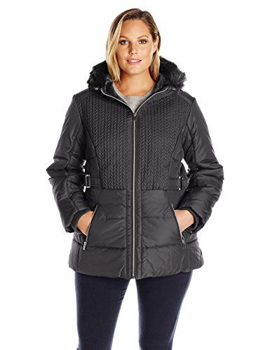 Awesome Details Women's Plus Size Puffer Coat with Braided Quilting Faux-Fur Trimmed Hood