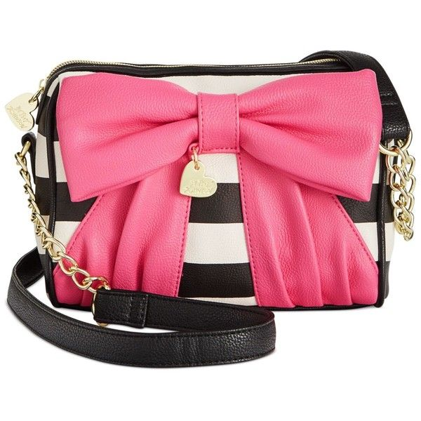 Betsey Johnson Macy's Exclusive Crossbody ($68) ❤ liked on Polyvore featuring bags, handbags, shoulder bags, purses, accessories, stripe, striped purse, pink crossbody purse, betsey johnson handbags and striped shoulder bag