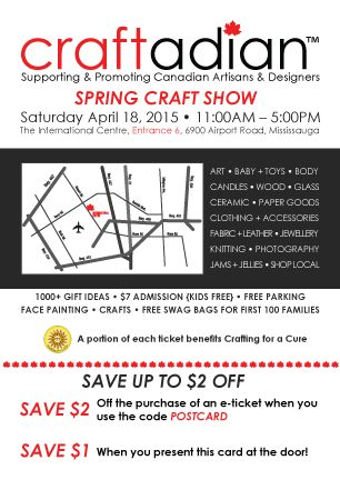 #Craftadian April 18th at the International Centre.   Find out more about this show www.craftadian.ca