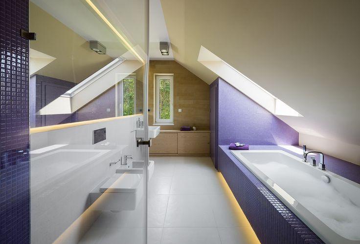 Colourful modern bathroom, violet bathroom, attic, bathroom in the attic, mosaic, violet mosaic