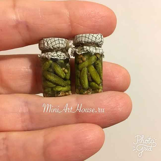 Dollhouse miniature pickles in a glass jar. Create and made by Eugenia Iashina(Miniarthouse)