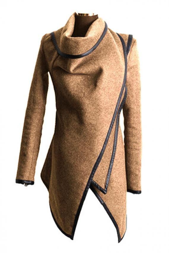 Irregular Long Sleeve Tweed Winter Trench Coat