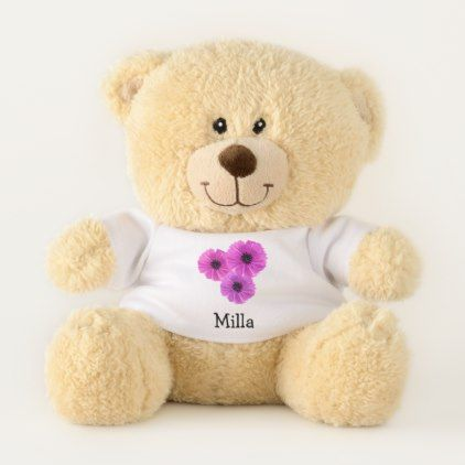 Pink Flowers Personalized Teddy Bear - floral style flower flowers stylish diy personalize