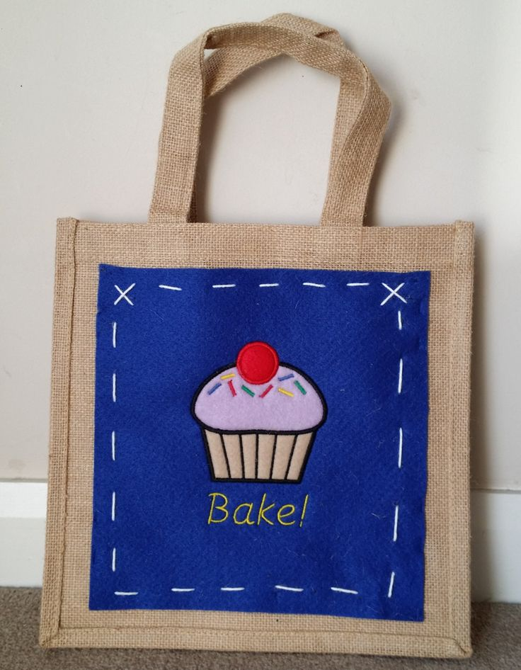Jute bag with embroidered panel - Cup Cake Bake Design by MadeByMAP on Etsy
