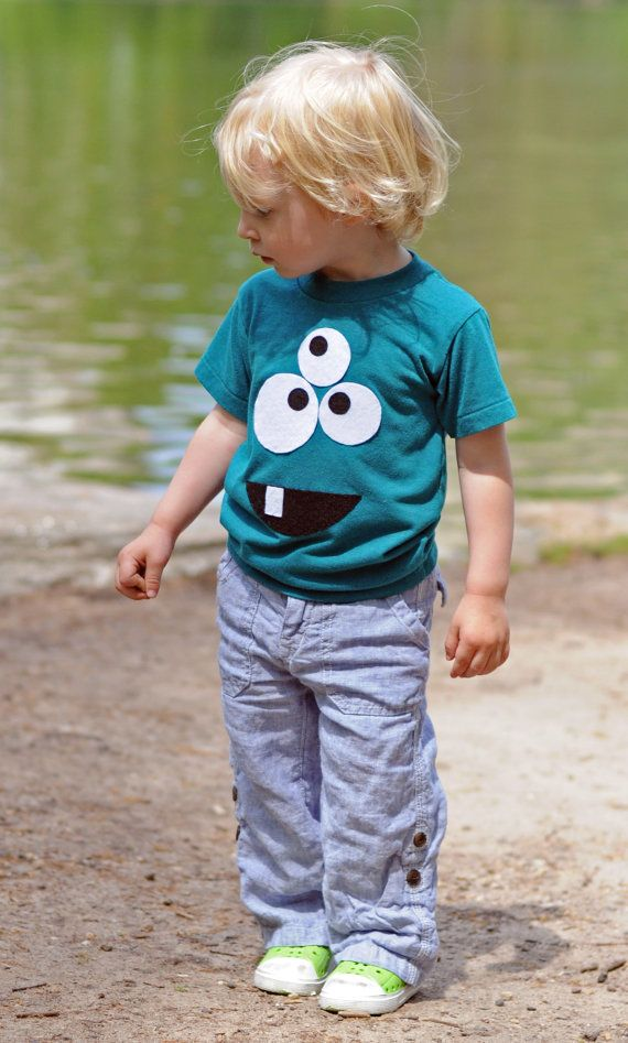 Monster T-shirt - American Apparel Short Sleeve Shirt- Felt Appliqué - Boy or…