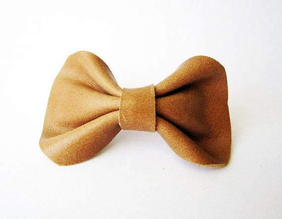 Leather hair bow barrette in caramel brown brown by Akamatra, $10.00