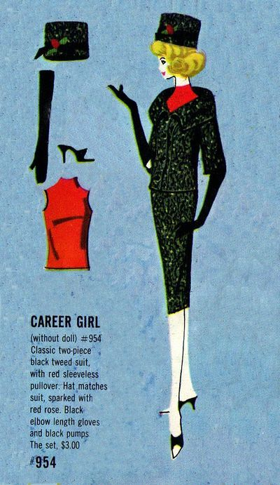 1963 Barbie Career Girl Fashion #954 from a vintage Barbie Fashions pamphlet.