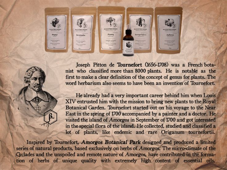 "Herbs from Amorgos island, product series ""Tournefort"". Inspired by the french botanist Tournefort who visited Amorgos in 1700. Vintage label. Doypack kraft eco friendly packaging."