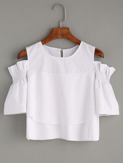 White Ruffled Open Shoulder Blouse