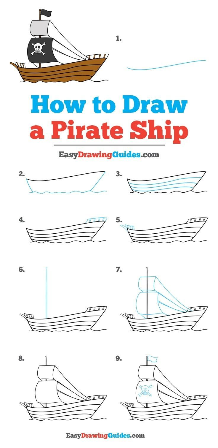 How To Draw A Pirate Ship Really Easy Drawing Tutorial Art