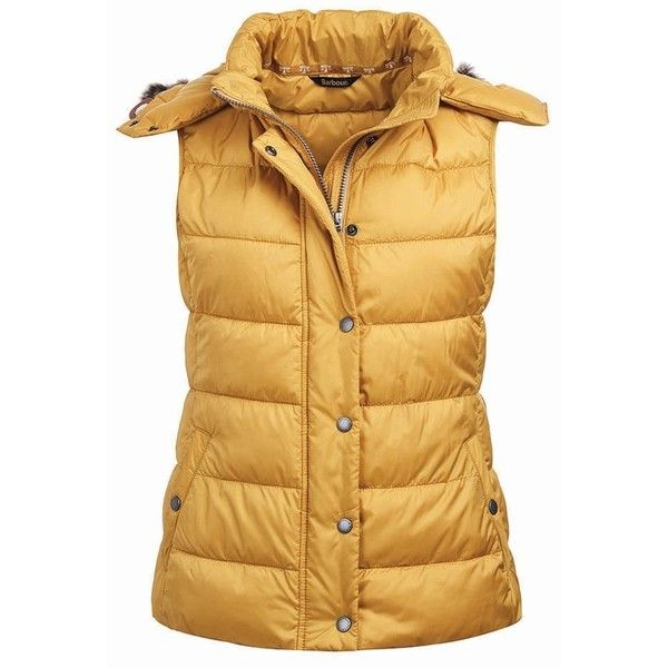 Women's Barbour Beachley Gilet - Harvest Gold ($200) ❤ liked on Polyvore featuring outerwear, vests, layered vest, barbour, hooded vest, pocket vest and barbour vest