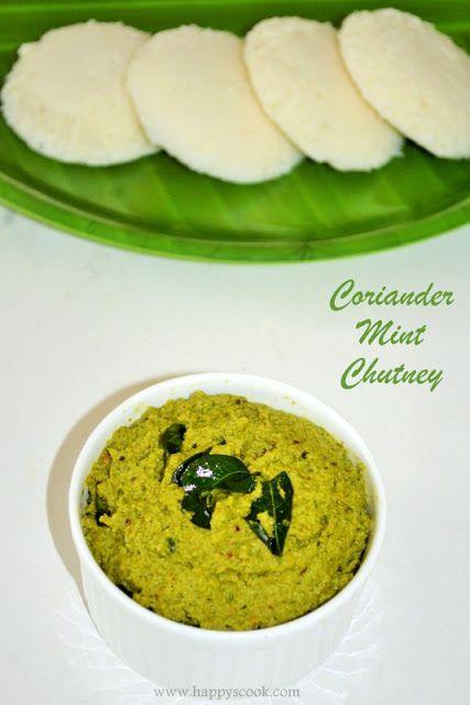 Happy's Cook: Coriander Mint Chutney Recipe | Kothamalli Pudhina Thogayal | Chutney Recipes for Idli Dosa