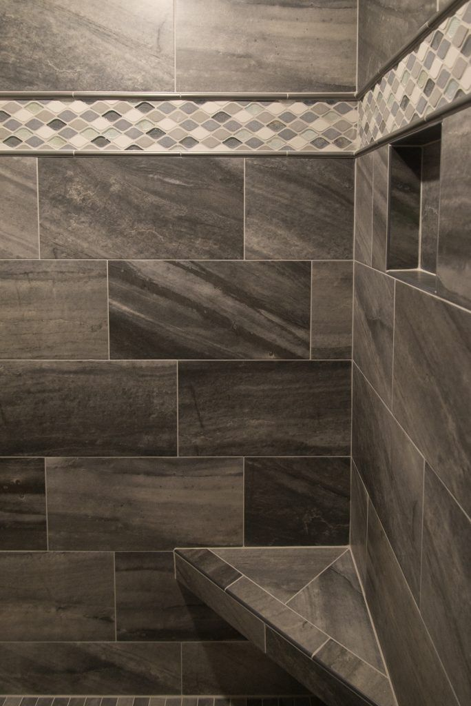Shower Tile Walls Evolution Carbon 12x24 Rain Drop Gris