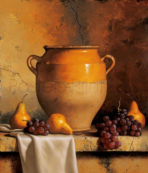 Confit Jar With Pears & Grapes Art Print Poster by Loran Speck