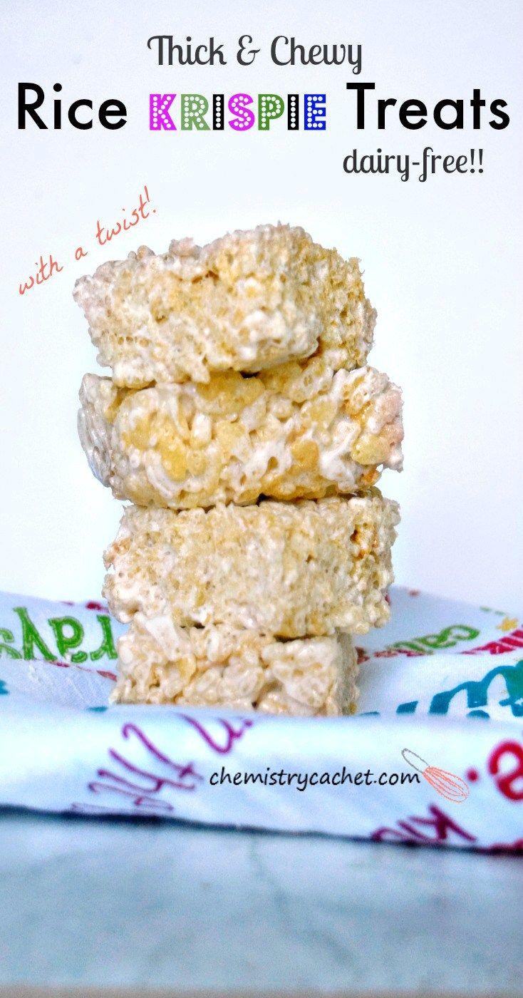 Thick & Chewy DairyFree Rice Krispie Treats Recipe