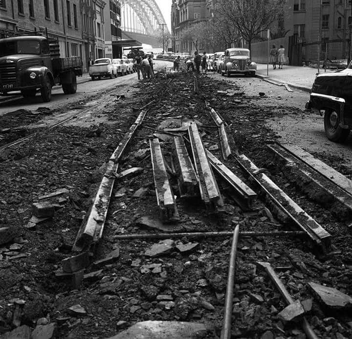 Removal of the tram tracks in George Street,Sydney in 1960.