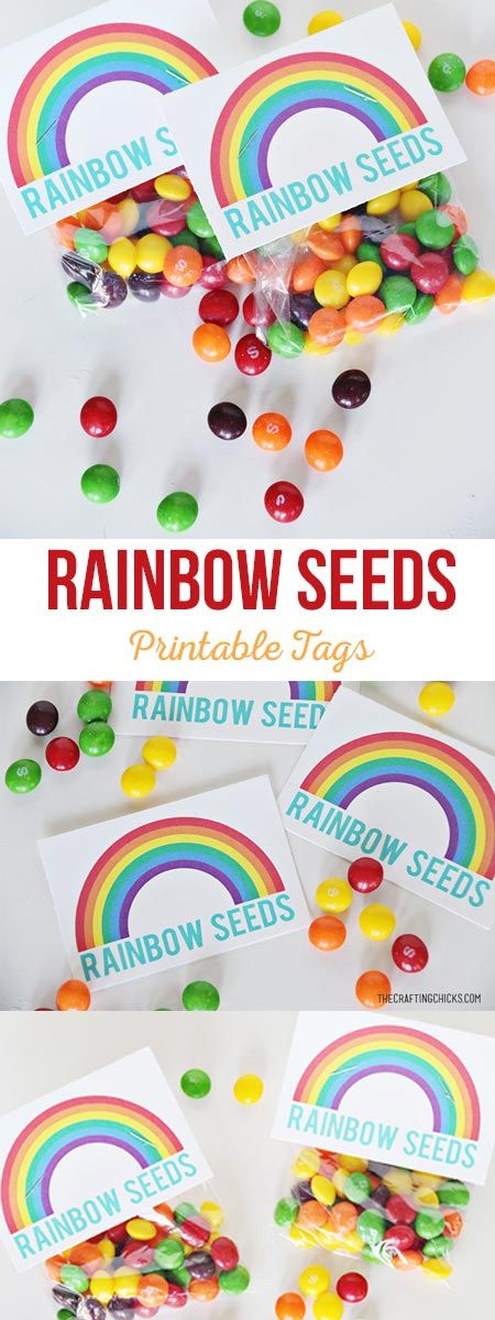 Rainbow Seeds Free Printable - A simple St. Patrick's Day gift idea via @craftingchicks