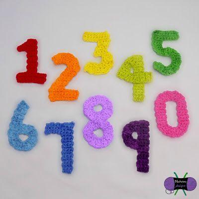 Blackstone Designs: Numbers - free crochet appliqué patterns.