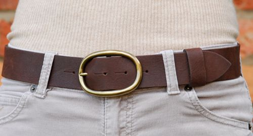 Simply Peachy detachable brown leather belt with brass oval buckle £55.