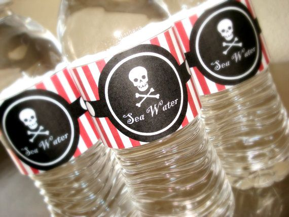 Custom Listing for TIFFANY  Pirate by PEACEandPAPERdesigns on Etsy, $10.00: Pirate Party, Tiffany Pirate, Pirates Life, Water Bottle Labels, Water Bottles