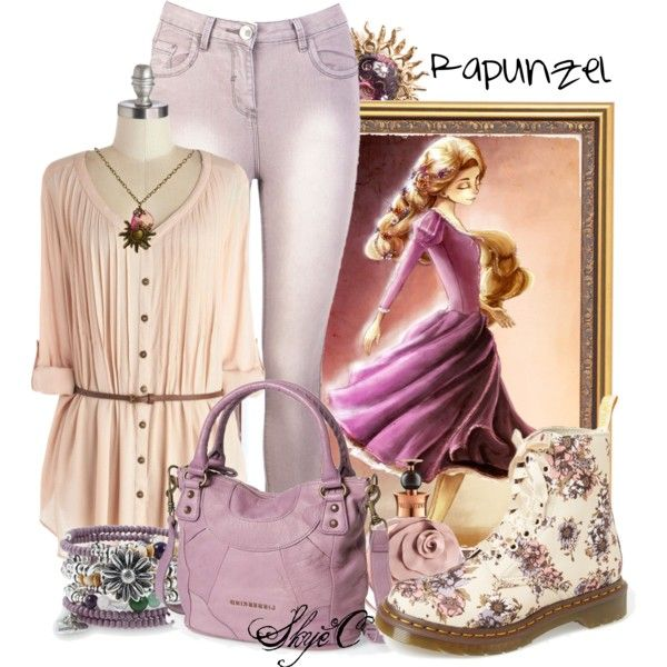 Rapunzel - Spring - Disney's Tangled by rubytyra on Polyvore featuring Dr. Martens, Liebeskind, Alex and Ani, Claire Deve, Valentino, Spring, disney, disneybound and tangled