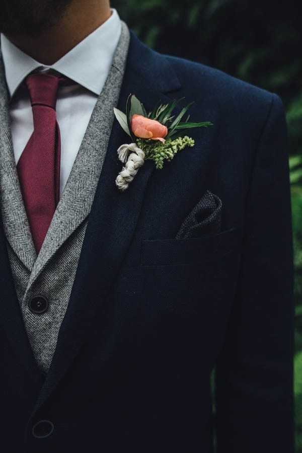 Industrial-inspired groom style and succulent boutonniere | Image by Erika Mattingly