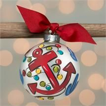 Anchor Glass Ornament