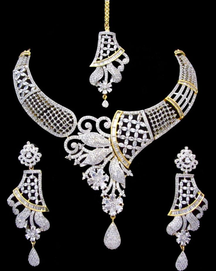 Indian Bridal CZ AD Gold & Silver Bollywood Bridal Necklace Set Swam Jewelry 213 | eBay